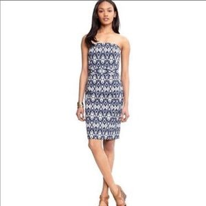 Banana Republic Ikat Blue Strapless Dress